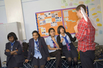 Laiba Abassi (3rd from left) and Robyn Kullar (2nd from right) during a rehearsal for a production of William Shakespeare's 'Comedy of Errors.' They volunteered to be in the  play and are to perform at The Beck Theatre as part of the 10th anniversary Shakespeare School Festival, the UK's largest youth drama festival with over 650 schools involved. Laiba is playing Adriana and Robyn her sister Luciana. Villiers High School is in the town of Southall. It has a very wide ethnic diversity. 45 different 1st spoken languages are listed among the 1208 pupils. 25 ethnic groups are represented with Indian, Pakistani and Black-Somali the three highest.Southall is a suburban district of West London, England. The town has one of the largest concentrations of South Asian people outside of the Indian sub-continent. Over 55% os Southall's population of 70,000 is Indian/Pakistani, with less than 10% being White British.