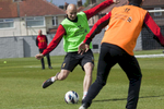 Liverpool FC midfielder Jonjo Shelvey prepares to strike the ball in training at Melwood.Melwood is the Liverpool FC training ground, located in the West Derby area of Liverpool. It is seperate from the Liverpool Academy, which is based in Kirkby.Melwood was redeveloped in the early 2000′s with large input from then-manager Gerard Houllier and now features some of the best facilities in Europe. It has been the club's training ground since the fifties and was previously transformed into a top class facility by Bill Shankly.Facilities include sythetic pitches, rehabilitation rooms, press and meeting rooms, gymnasium, swimming pool, restaurant and recreational facilities.