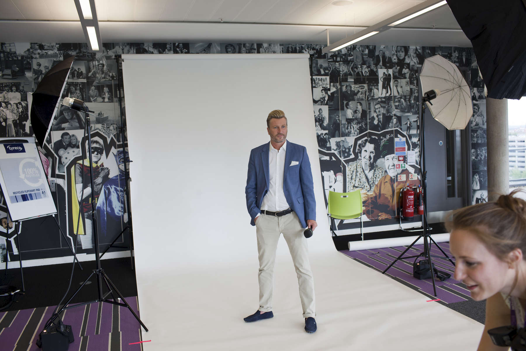 Former footballer and now presenter Robbie Savage has publicity photographs taken for the BBC.Match of the Day (often abbreviated as MOTD or MotD) is the BBC\'s main football television programme. Typically, it is shown on BBC One on Saturday evenings during the English football season, showing highlights of the day\'s matches in English football\'s top division, the Premier League. It is one of the BBC\'s longest-running shows, having been on air since 22 August 1964, though it has not always been aired regularly. The programme is broadcast from MediaCityUK in Salford Quays on the banks of the Manchester Ship Canal in Greater Manchester.Since 1999 MOTD has been presented by the former England captain Gary Lineker. Lineker is usually joined by two pundits to analyse and review the day\'s action. The former Newcastle United captain Alan Shearer is the lead pundit