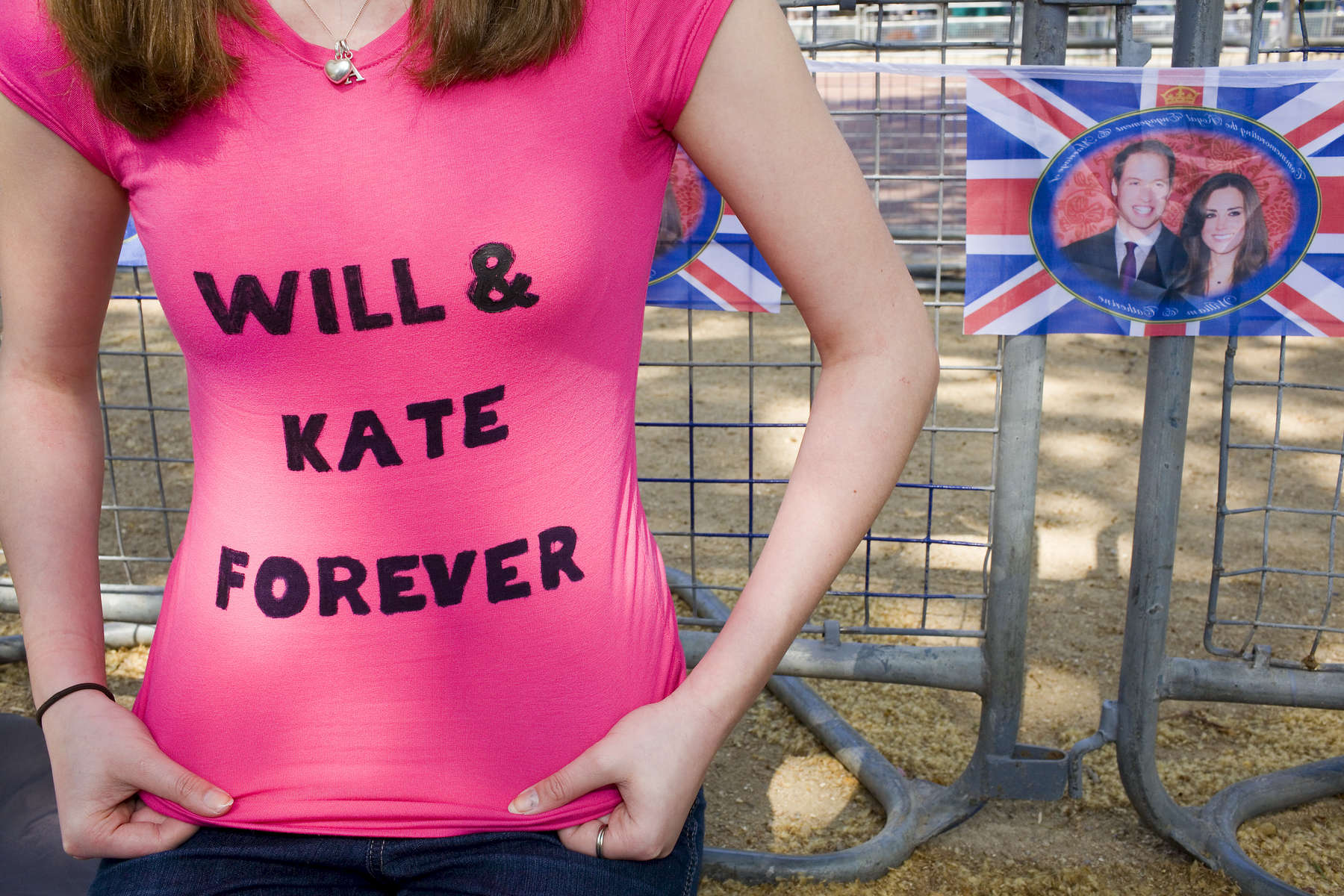 17 year old Amelia Coe with a custom made T-Shirt waits on the Mall for the Royal Wedding to begin.