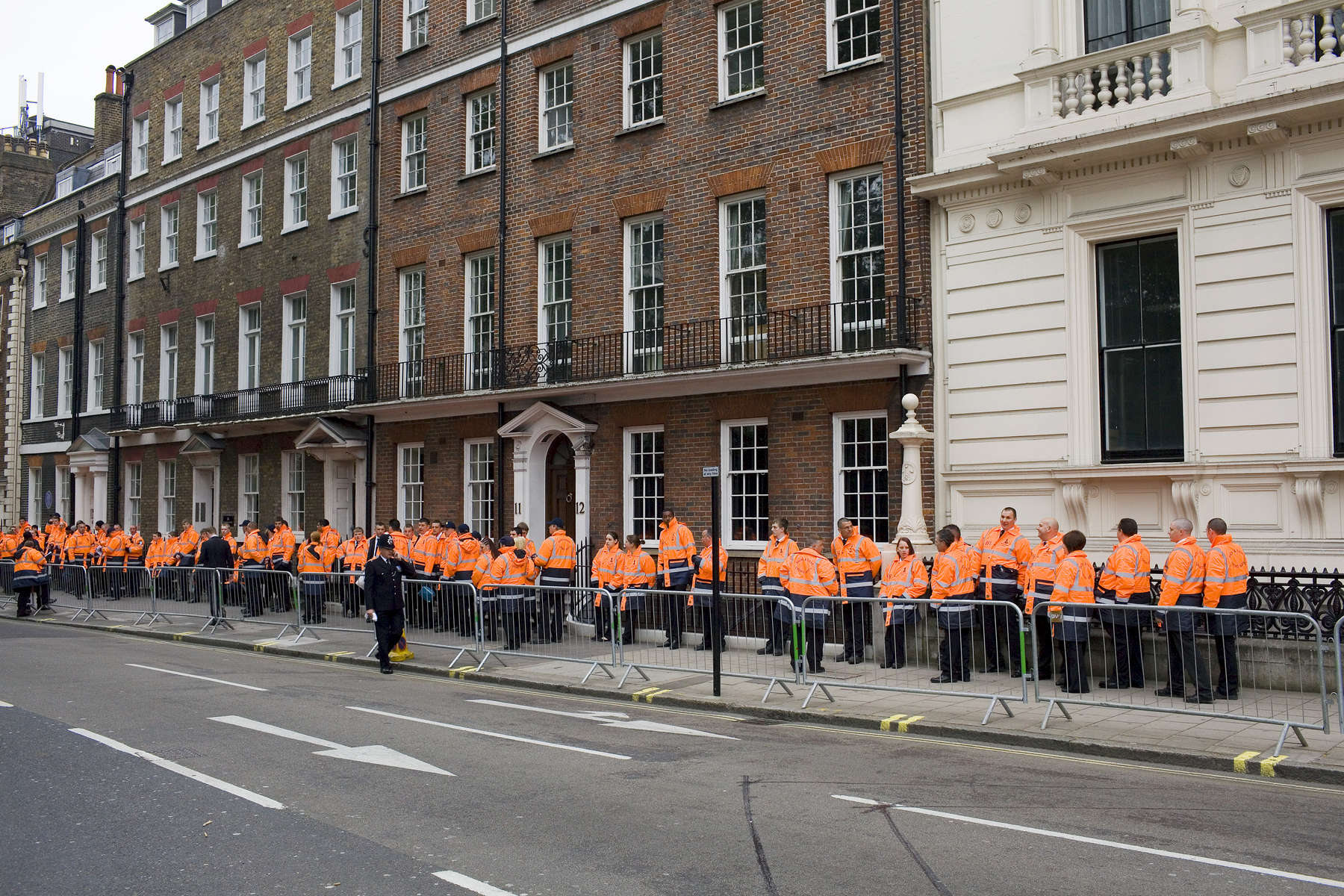 Security await deployment on the day of the Royal Wedding between Prince William and Kate Middleton.