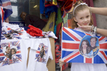 4-year old Rinesa Curri with her union flag of Prince William and Kate Middleton. Rinesa'a family are originally from Kosovo and now live in Camden, North London.