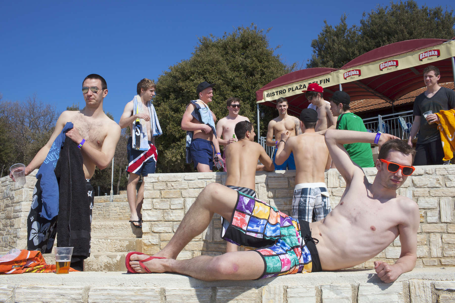 British University Students on the inaugural ILOVETOUR to the town of Porec in Croatia. The tour organizes various sports and themed events and club nights.