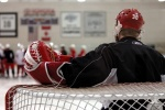 October 2006 - Detroit Red WingsNHL Hockey Goalie Chris Osgood prepares himself as the Detroit Red Wings practice in Los Angeles, California.