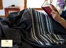 Rare Wool Summer Blanket in Dark Brown with White Stripes