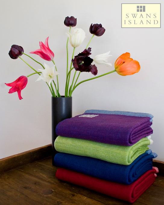 Organic Merino Wool Throws in Solid Colors