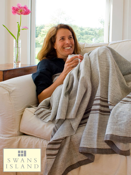 Summer Blanket in Grey with Brown Stripes