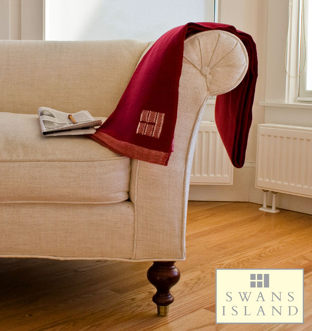 Organic Merino Wool Throw in Solid Red