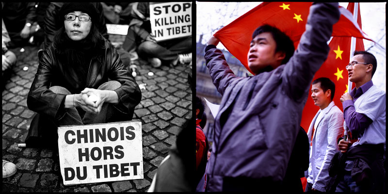 Manifestations pro Tibetaines et pro Chinoises à Paris, mars-avril 2008.Pro Tibetans and pro Chineses protest in Paris, march-april 2008.