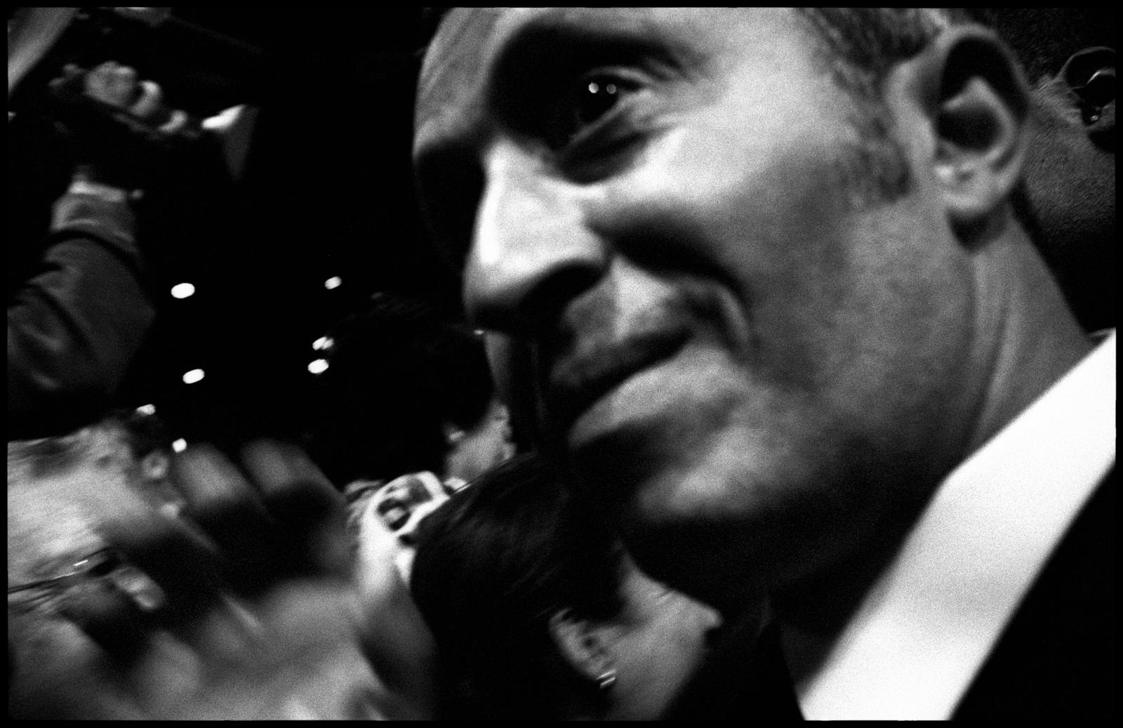 Azouz Begag, ex-Ministre délégué à la promotion de l'égalité des chances, lors du meeting de François Bayrou le 18 avril au Palais Omnisports de Paris Bercy.