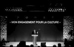 Nicolas Sarkozy a invité une centaine de personnalités de la Culture pour leur faire part de ses engagements, le 4 avril 2007 au Showcase à Paris.