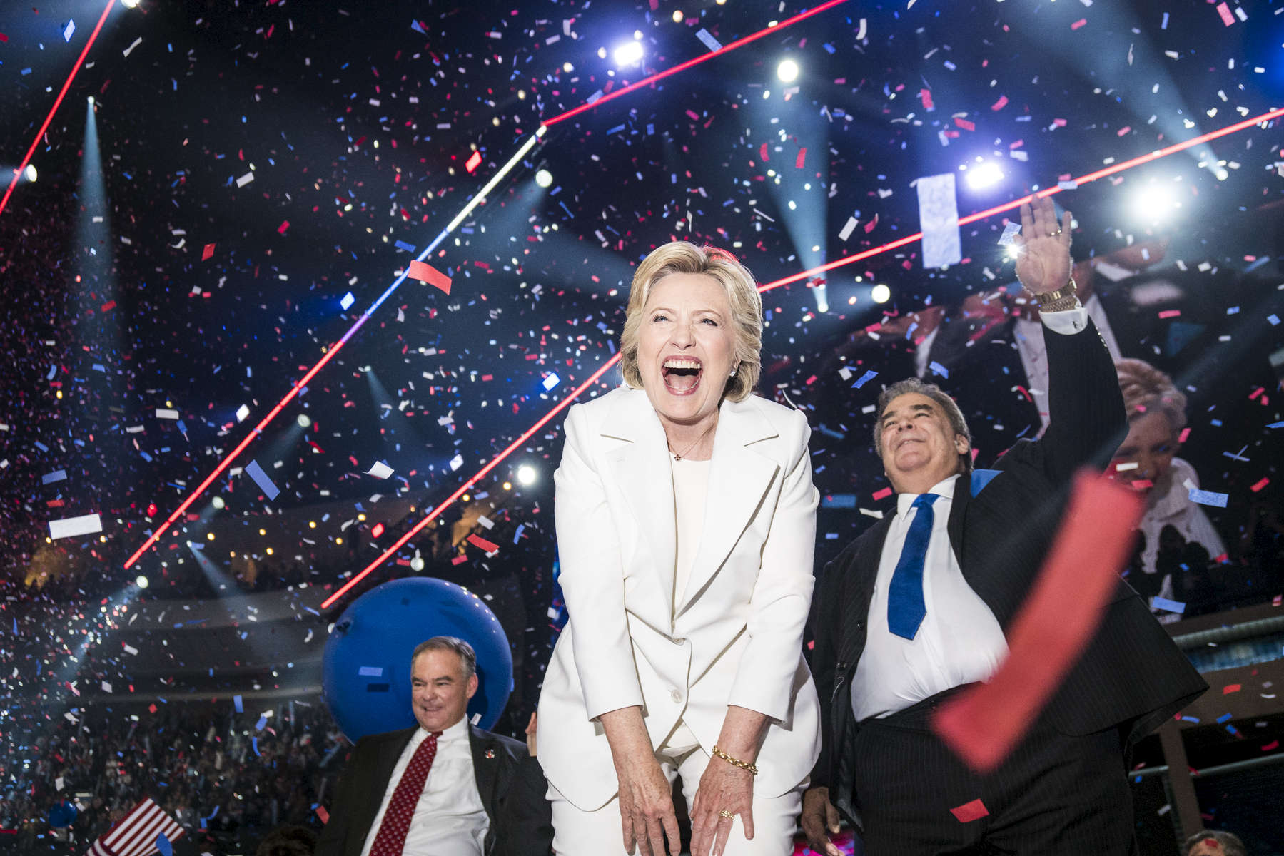 Philadelphia, PA - July 28, 2016: Democratic Presidential Candidate Hillary Clinton celebrates her nomination following the completion of the DNC on July 28, 2016 in Philadelphia, PA.