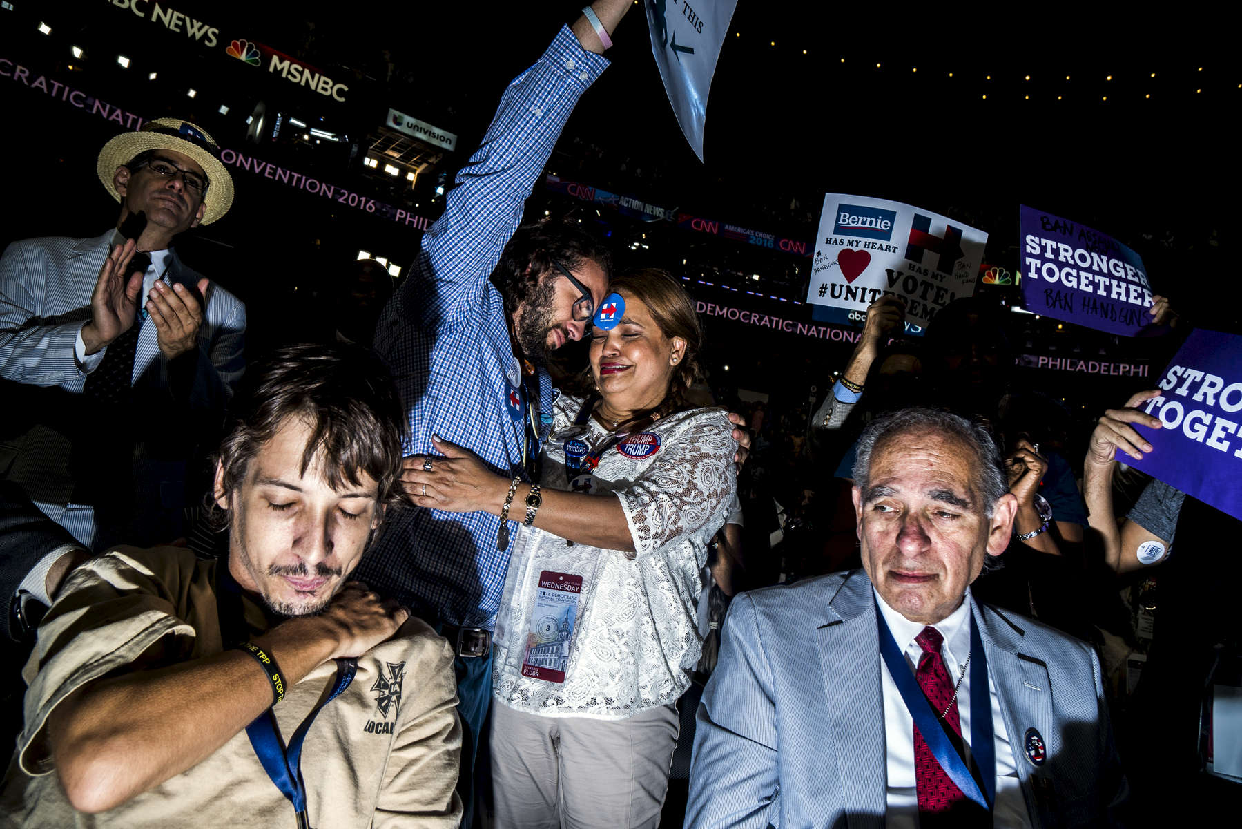 Philadelphia, PA - July 27, 2016: Relatives and friends of the victims of the Pulse Nightclub shooting react during a speech against gun violence at the Democratic National Convention in Philadelphia, PA.