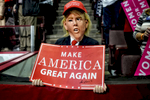 Hershey,PA - November 4, 2016 Supporters of Republican presidential nominee Donald Trump cheer for him during a campaign rally at the Giant Center November 4, 2016 in Hershey, Pennsylvania. With less than a week before Election Day in the United States, Trump and his opponent, Democratic presidential nominee Hillary Clinton, are campaigning in key battleground states that each must win to take the White House. (Photo by Ben Lowy for Time Magazine)