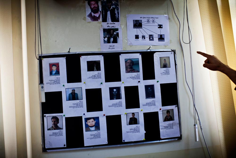 The Afghan police's anti-narcotic intelligence division keeps a detailed record of one of Afghanistan's many drug networks in a Kabul office.