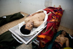 The bodies of civilian and rebel casualties are stored in the Jala Hospital morgue in Bengazi.