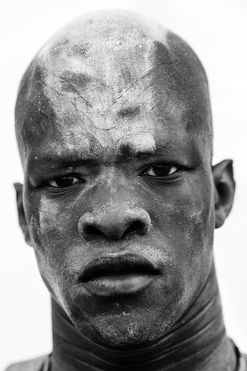 JUBA, SOUTH SUDAN - DECEMBER 15: Portraits of South Sudanese traditional wrestlers. Prior to the outbreak of the civil war in December 2013, several tribal groups were pitted against each other as part of a {quote}Wrestling for Peace{quote} conflict resolution initiative. (Photo by Benjamin Lowy/Reportage by Getty Images)