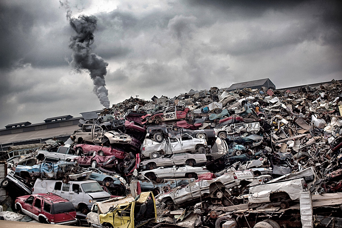 A vast scrapyard dominates the landscape in a spot that was once one of the busiest steel mills along the famous American Rust Belt on February 7, 2012 in Youngstown, OH.