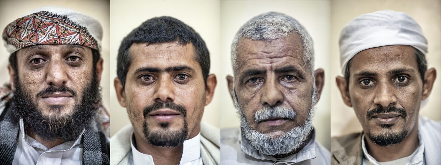 Portaits of (left to right) Former Taliban and current Al Qaeda political party leader Rashad Mohammed Saeed and the family of recently deceased Guantanamo inmate Adnan Latif.