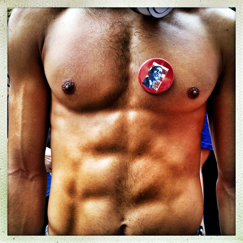 Barechested for Obama.