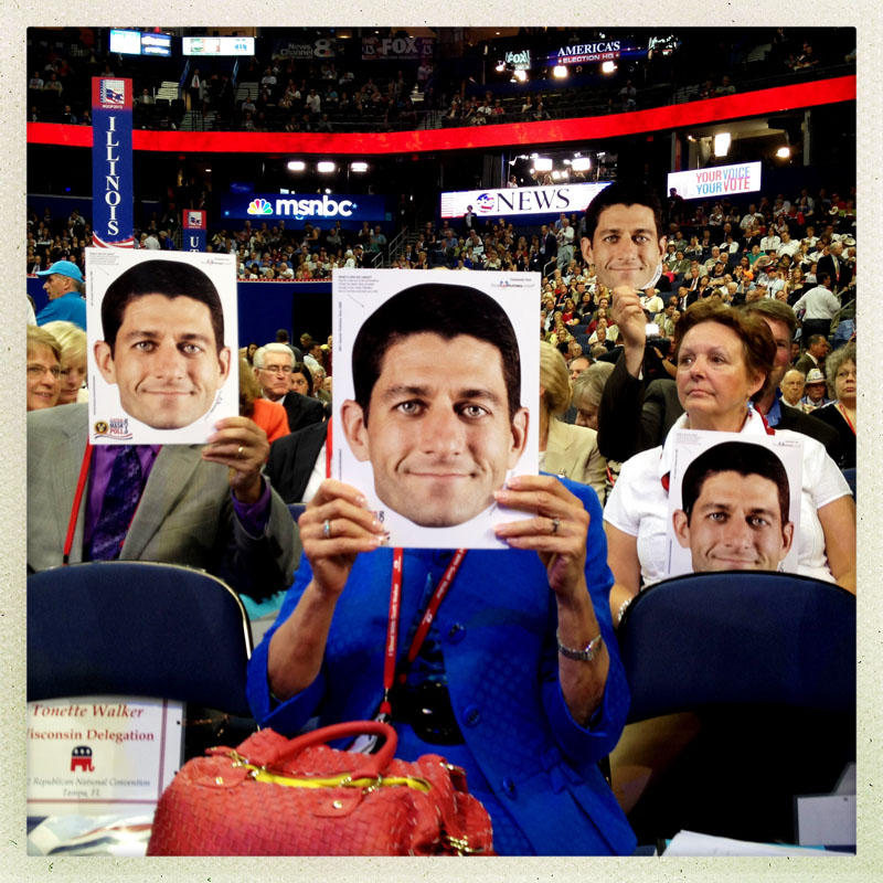 The crowd sports Paul Ryan masks at the RNC.