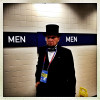 A delegate dressed as honest Abe Lincoln in the Tampa Bay Forum for the first day of the RNC.