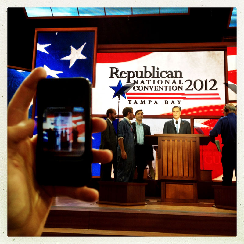 Mitt Romney mic check before the final session of the 2012 RNC.