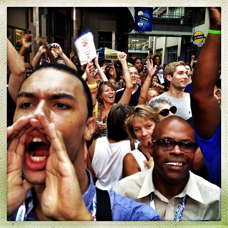 Audience members cheer during a public taping of MSNBC's Hardball in Uptown Charlotte prior to the DNC.