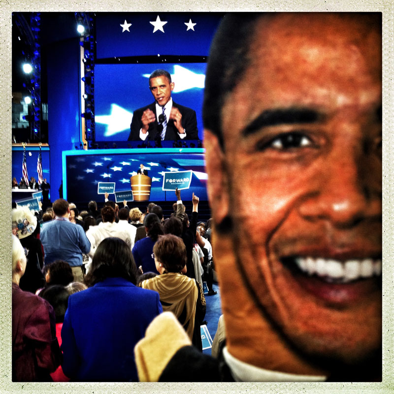 President Obama addresses a packed house during his keynote speech on the final night of the Democratic National Convention.