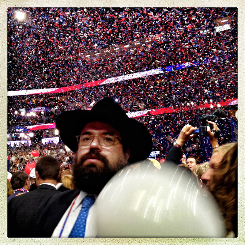 Confetti and Balloons fall on republican delegates, alternates, and guests following Mitt Romney's speech and the close of the 2012 RNC.