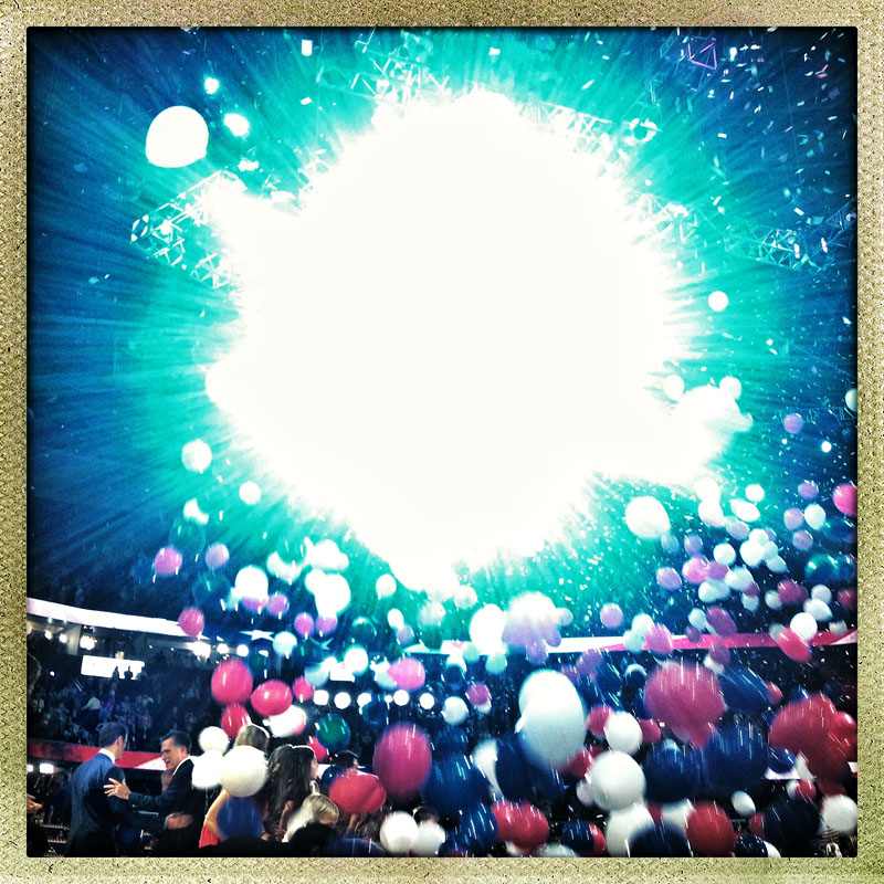 Republican Candidates Mitt Romney and Paul Ryan (bottom left) embrace under a swarm of balloons and cheers following the conclusion of the 2012 Republican National Convention.