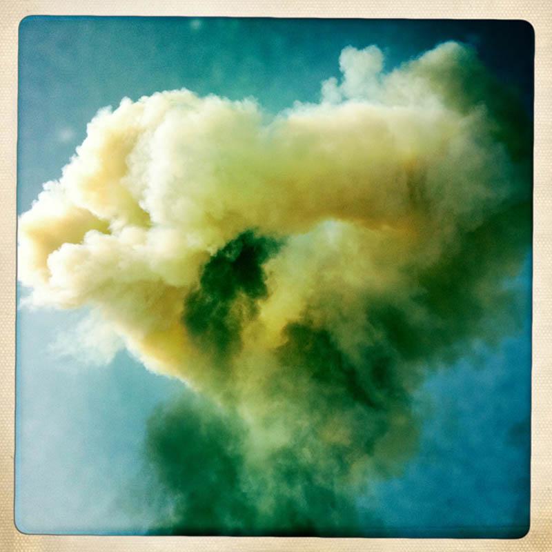 A mushroom cloud from an exploding Gaddafi loyalist tank, Ajdabiya.