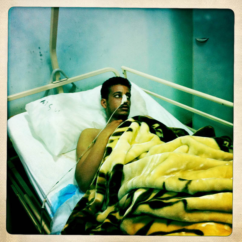 An injured Libyan rebel is treated in a hospital in Tobruk.
