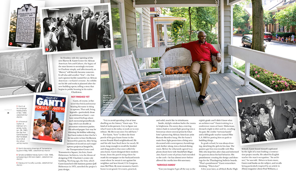 Former Charlotte Mayor Harvey Gantt. Photographed for SouthPark Magazine. Photos by Wendy Yang © The Charlotte Observer, used with permission