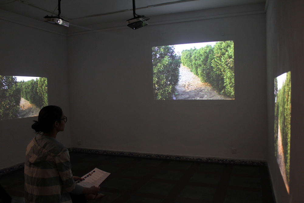 Installation View of synchronised 3-channel projection at Full Circle Gallery in Karachi, Pakistan, with Vasl Artists' Collective, November 2015.