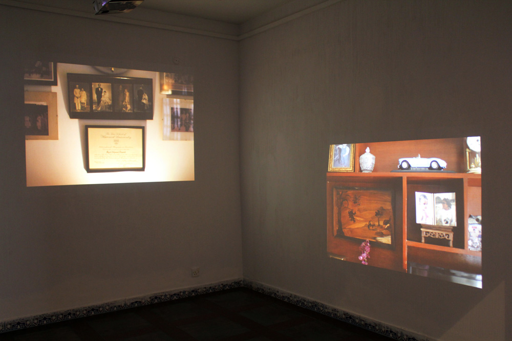 Installation View of synchronised 3-channel projection at Full Circle Gallery in Karachi, Pakistan, with Vasl Artists' Collective, November 2015