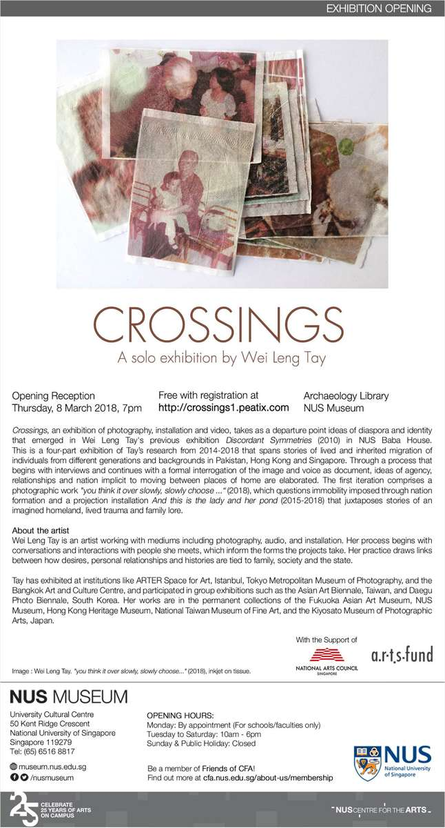 Crossings is a 4-part, 9 month solo exhibition at NUS Museum, Singapore. The first iteration opens March 8.