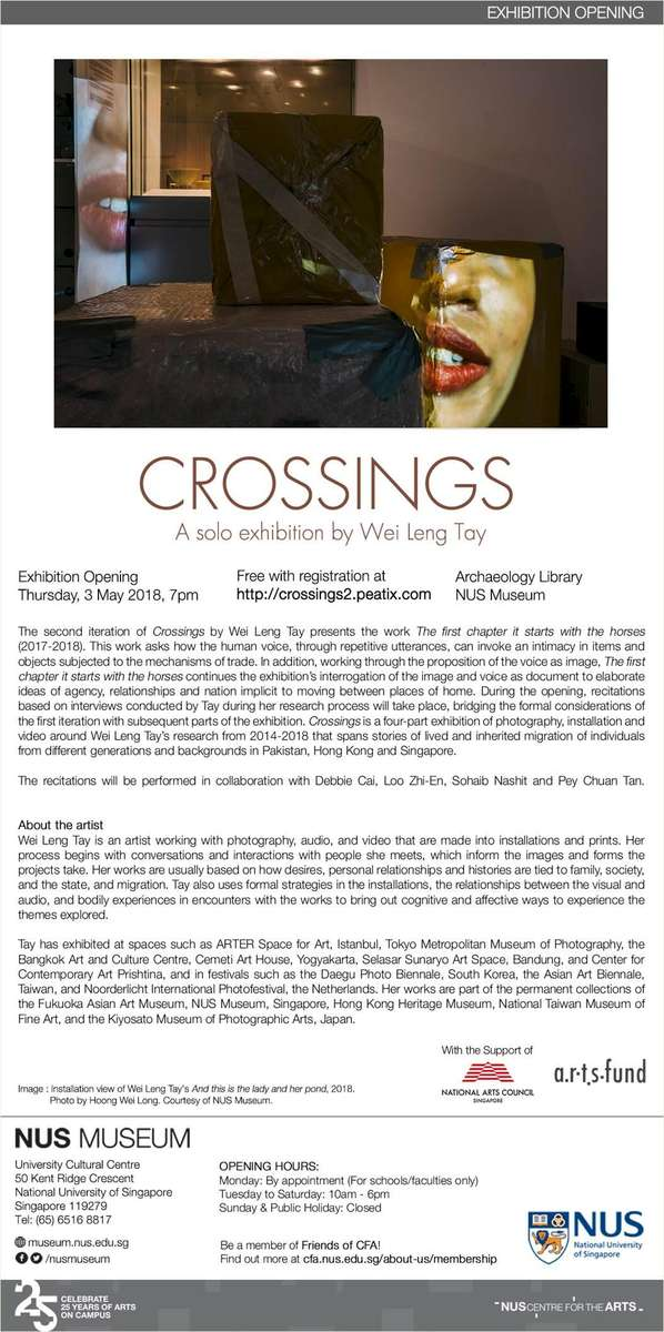 The second iteration of Crossings opens May 3, 2018 with the work And the first chapter it begins with the horses and recitations.