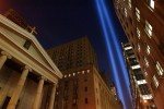 Beams of light are seen marking the first anniversary of the World Trade Center attacks of September 11, 2001.