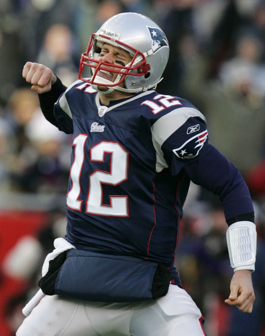 New England Patriots Tom Brady celebrates during the 2007 AFC Championship game.