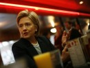 Hillary Clinton makes a campaign stop at a diner in Des Moines, Iowa.