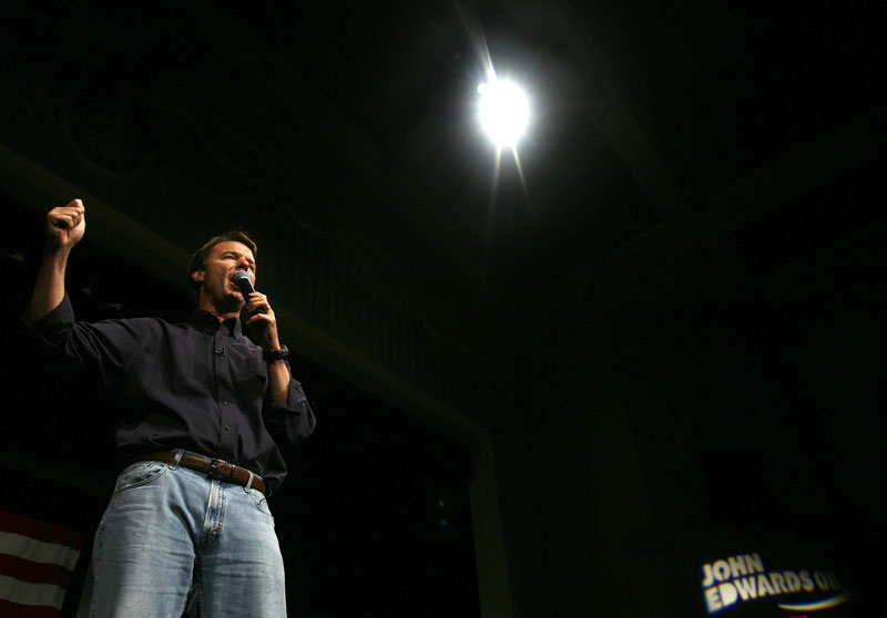 Democratic presidential candidate John Edwards speaks during a town hall campaign meeting in Iowa City, Iowa.