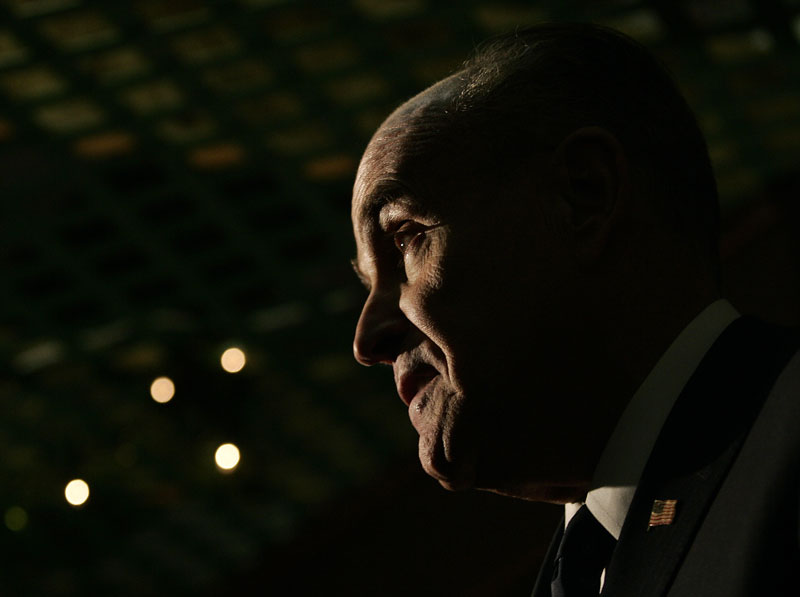 Republican presidential candidate Rudy Giuliani speaks during campaign stop in Sioux City, South Dakota.