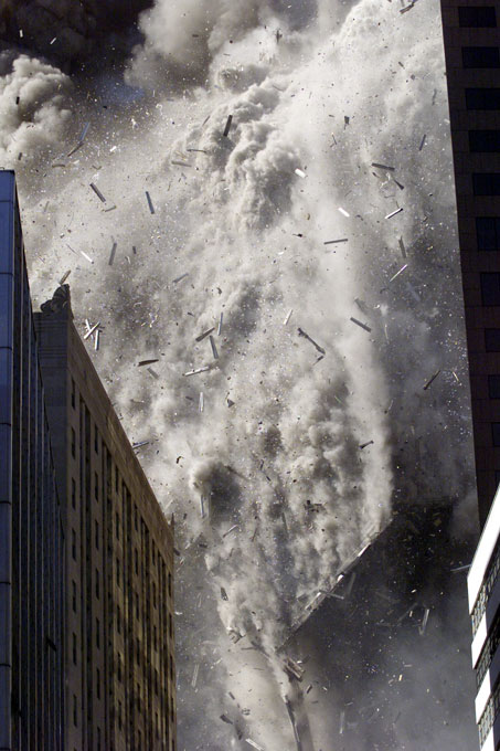 The South Tower of the World Trade Center collapses on the morning of September 11, 2001.