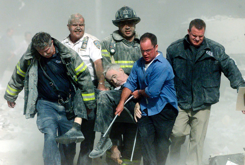 Father Mychal Judge is carried from the rubble of the World Trade Center on the morning of September 11, 2001.