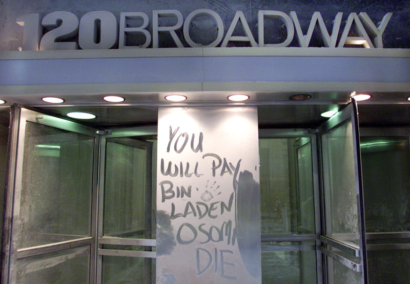 A message is written on a door front on September 11, 2001.