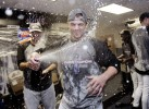 New York Mets third baseman David Wright celebrates the New York Mets 2006 division championship series.