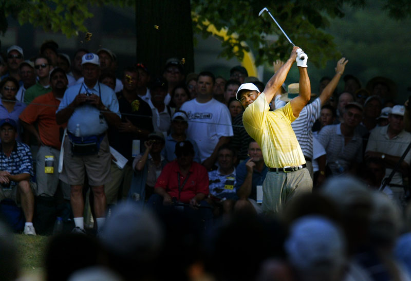 Tiger Woods hits from the tee during the 2006 U.S. Open.