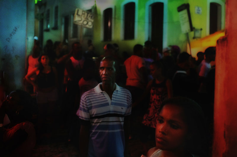 In Pelourinho, the UNESCO World Heritage Site in Salvador, people gather ouside a samba club.
