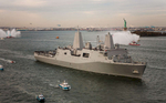 USS NEW YORK ARRIVES NYC